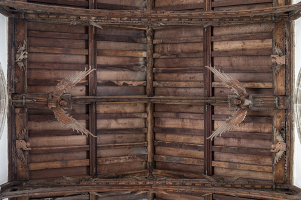 Picture of St Mary Mildenhall, Suffolk: detail of the hammerbeam roof with its carved angels