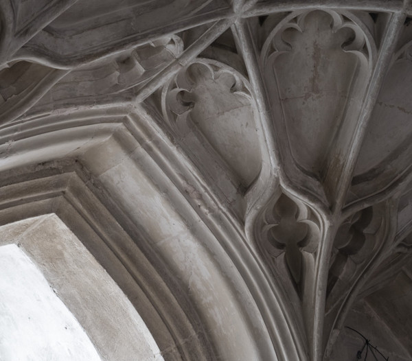 Picture of St Mary Mildenhall, Suffolk: detail of fan vaulting in the ground floor of the west tower