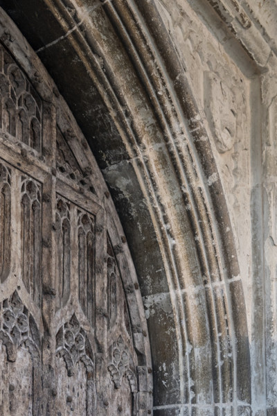 Picture of St Mary, Mildenhall, Suffolk: detail of the door of the north entrance porch