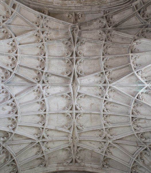 Picture of St Mary, Mildenhall, Suffolk: detail of the fan vaulting in the ground floor of the west tower