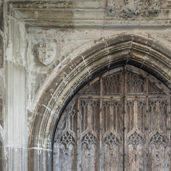 Picture of St Mary, Mildenhall, Suffolk: detail of the north entrance door