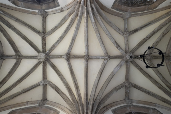 Picture of St Mary, Mildenhall, Suffolk: the vaulting on the ground floor of the north porch, seen from below