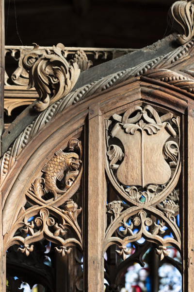 Picture of Saint Peter and Saint Paul Lavenham, Suffolk: detail of the carved woodwork on the Spourne Parclose screen
