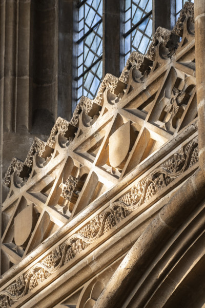Picture of Saint Peter and Saint Paul Lavenham, Suffolk: detail of the carved stonework in the nave