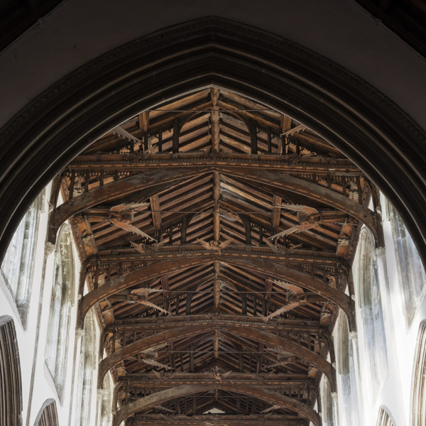 Picture of St Mary Mildenhall, Suffolk: the hammerbeam roof with its alternating cambered tie beams and carved angels