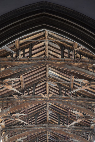 Picture of St Mary Mildenhall, Suffolk: detail of the hammerbeam roof with its alternating cambered tie beams and carved angels