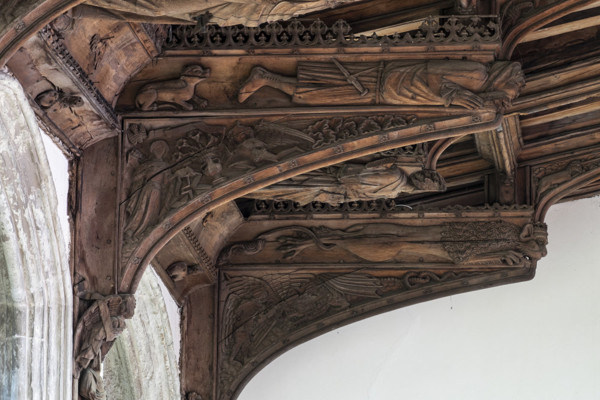 Picture of St Mary Mildenhall, Suffolk: detail of carved roof brackets