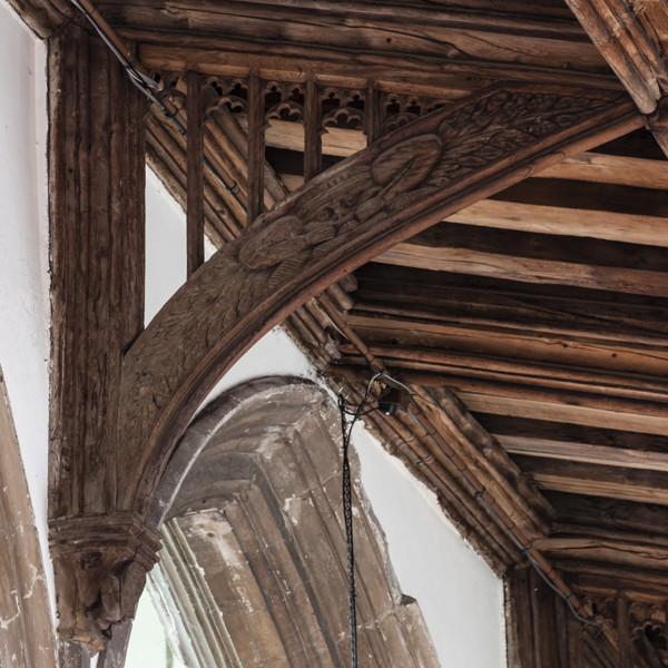 Picture of St Mary Mildenhall, Suffolk: detail of carved roof bracket