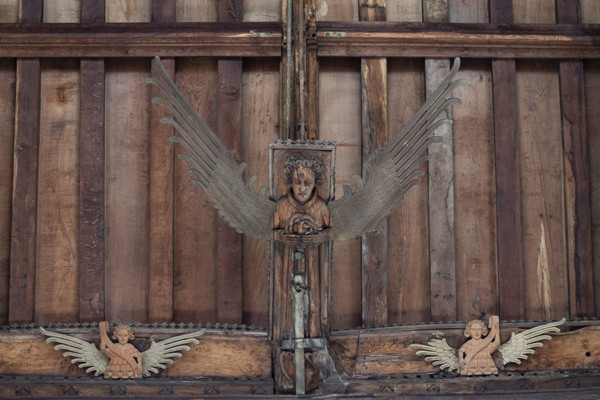 Picture of St Mary Mildenhall, Suffolk: detail of carved angel on the hammerbeam roof
