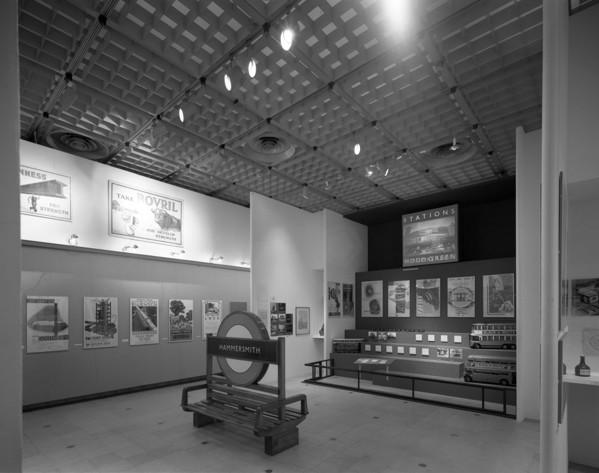 Picture of 'Thirties: British art and design before the war' exhibition, Hayward Gallery, South Bank Arts Centre, London: the transport section