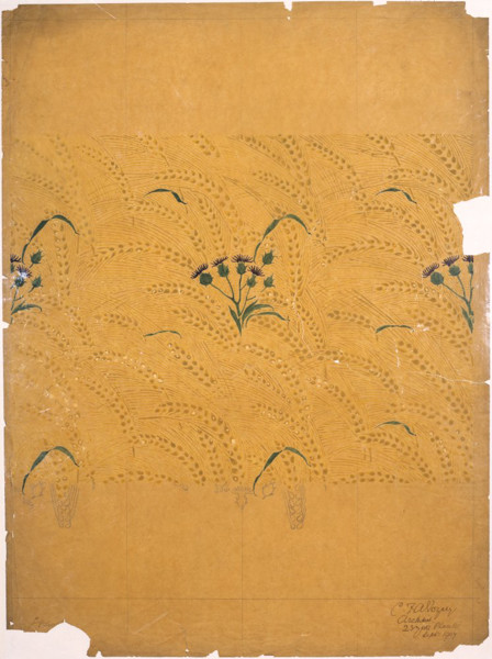 Picture of Design for a wallpaper showing thistles and wheat