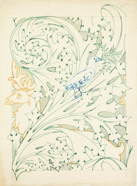 Picture of Design for a textile or wallpaper, showing a stag's head and a dove among stylized acanthus leaves