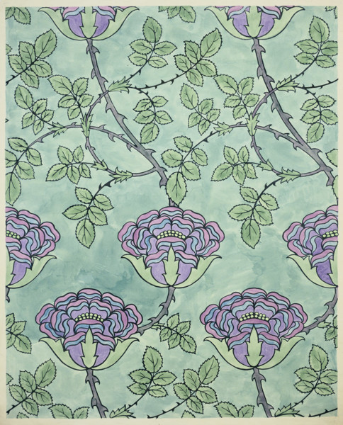 Picture of Design for a textile or wallpaper named 'Tudor Rose'