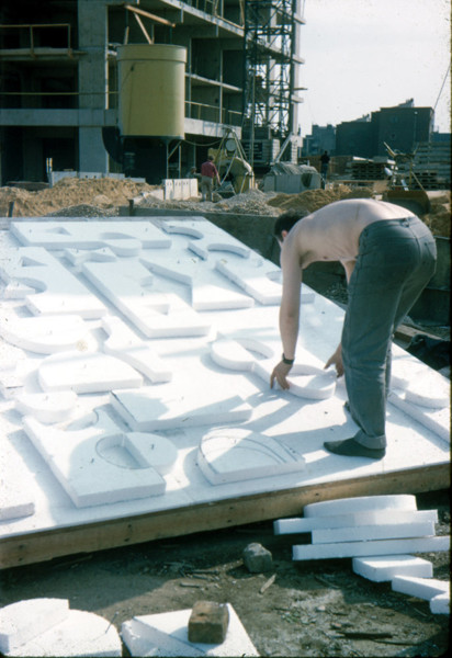 Picture of Artwork created for housing and other community facilities in the London area: polystyrene mock-up of a mural on a construction site