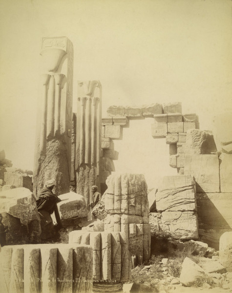 Picture of Great Temple of Amun, Karnak: pillars with symbols of Upper and Lower Egypt