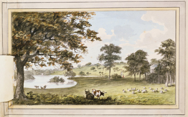 Picture of View of trees and fields in the grounds of Langley Park, Beckenham, London, following proposed alterations: perspective with overlaid paper flap in place showing cattle and sheep in the foreground and a lake and garden temple in the background