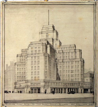 Picture of New headquarters of the London Electric Railway Company (later London Underground), 55 Broadway, Westminster, London: perspective view of the entrance front