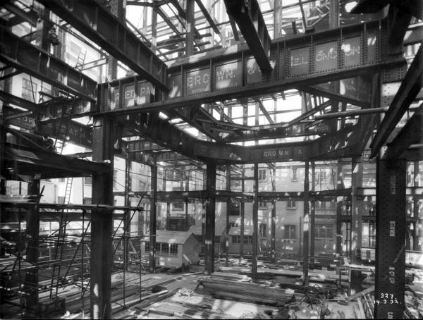 Picture of Glyn Mills' Bank, Lombard Street, London: steel framework under construction
