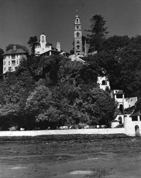 Picture of Campanile and Watch House seen from the estuary banks, Portmeirion