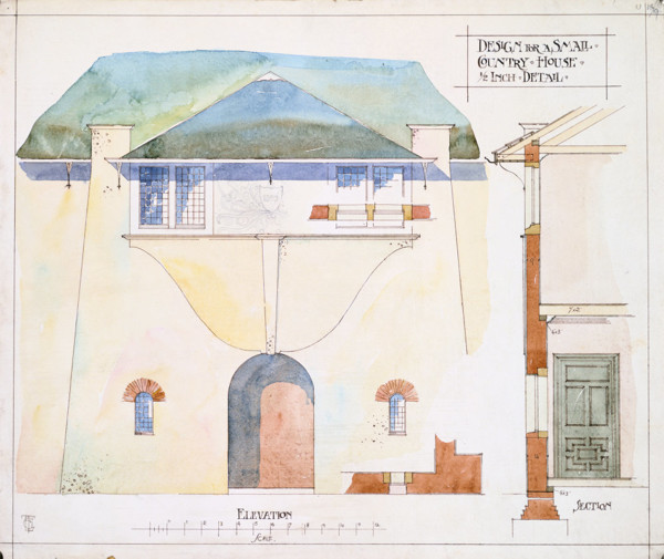 Picture of Design for a small country house: the entrance elevation