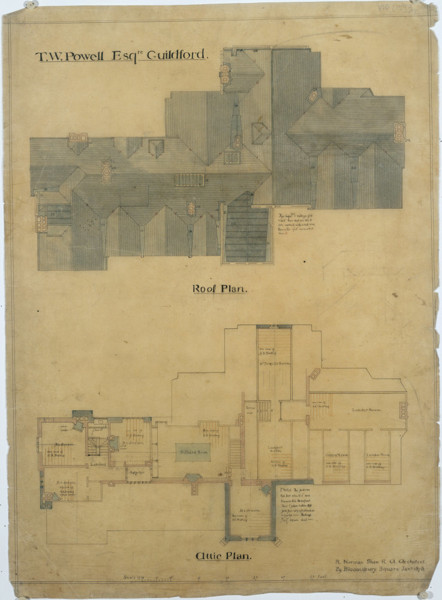 Picture of Plan for the roof and attic of Piccards Rough, Guildford, Surrey