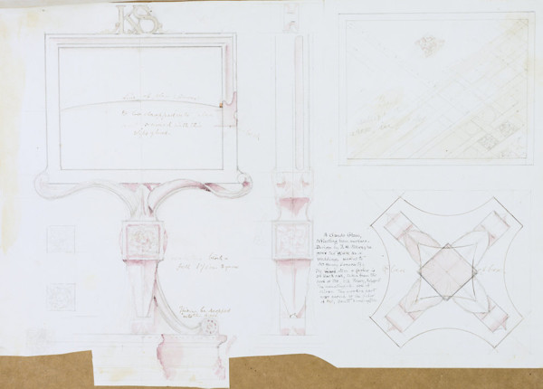 Picture of Working drawing for a Claude glass designed as a wedding present for Henry Somers Somerset