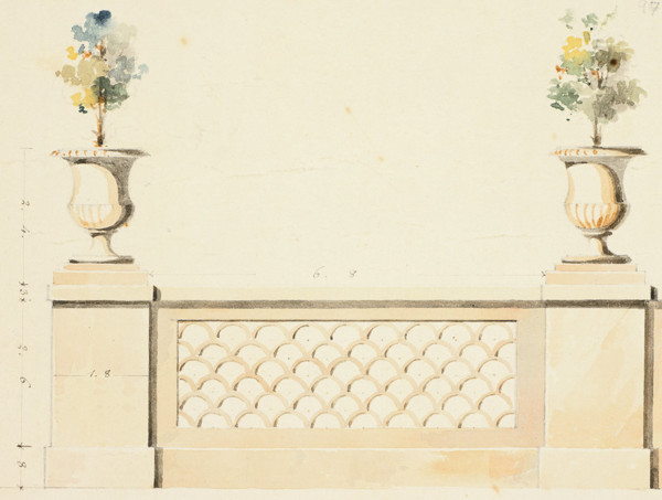 Picture of Design for a garden balustrade with urns