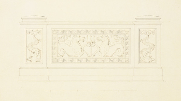 Picture of Design for a garden balustrade with dolphins and seahorses