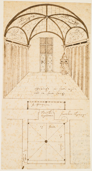 Picture of Designs for Bolsover Castle, Bolsover, Derbyshire: plan and central perspective of room vaulted with marble in the Little Castle