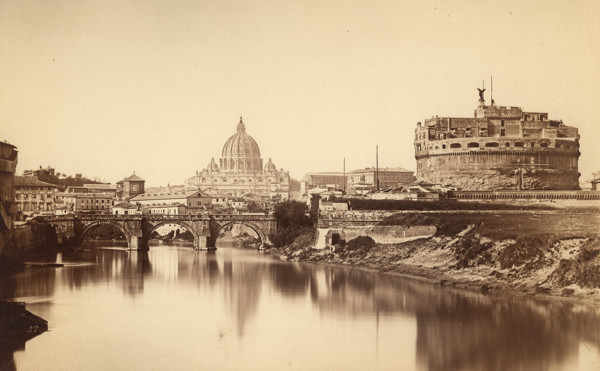 Picture of St Peter's Basilica and Castel Sant'Angelo seen from across the River Tiber, Rome