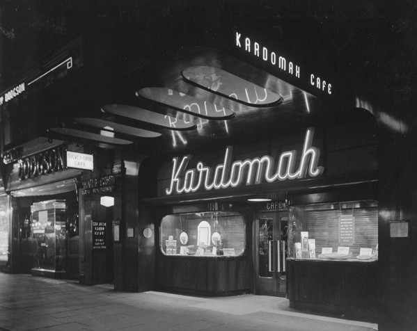 Picture of Kardomah cafe, Market Street, Manchester, by night