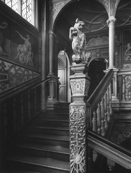 Picture of Knole, Sevenoaks, Kent: the Great Staircase showing one of the square newels surmounted by a heraldic Sackville leopard