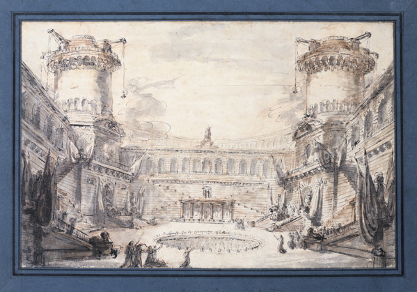 Picture of Design for a stage set showing the courtyard of a castle with two towers