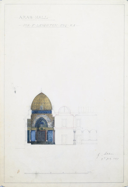 Picture of Design for an addition to Leighton House, 12 Holland Park Road, London: section through the Arab Hall