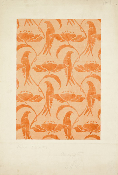 Picture of Design for a wallpaper showing stylized birds and poppies