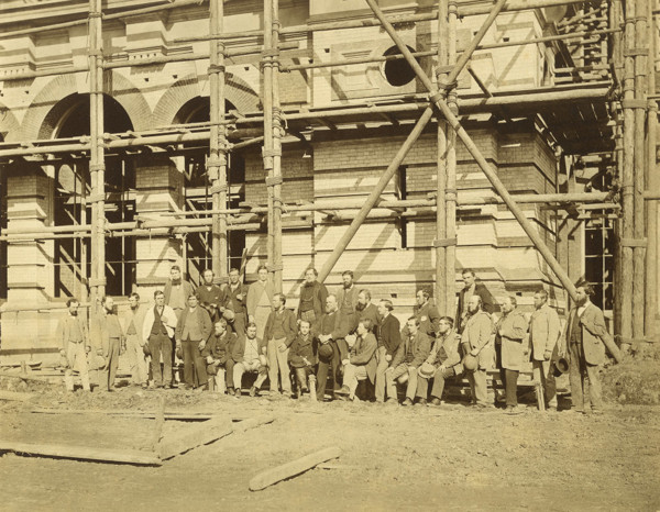 Picture of Alexandra Palace, Alexandra Park, London under construction: group portrait of workers probably from Messrs. Kelk & Lucas, the contractors