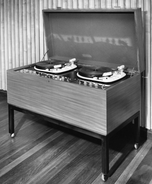 Picture of Record player in the long-playing record department of the public library, Luton, Bedfordshire