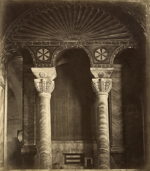 Picture of Basilica of San Vitale, Ravenna: two of the eight pillars encased in marble supporting the dome
