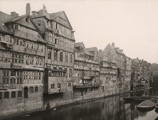 Picture of Gabled town houses and warehouses backing onto the Fleet, Altstadt, Hamburg