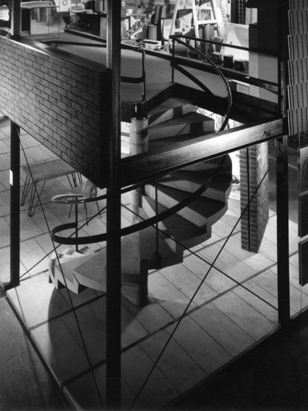Picture of Eastwoods Ltd stand, Building Exhibition 1953, Olympia, London: the spiral staircase to the gallery