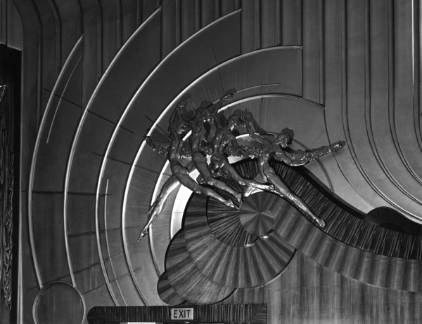 Picture of Odeon cinema, Leicester Square, London: the 'Flying Ladies' plaster figure reliefs by Raymond Briton Riviere in the auditorium