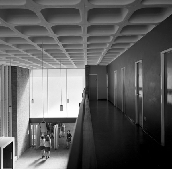 Picture of Haggerston Secondary School for Girls, Dunloe Street, Hackney, London: the entrance hall seen from the gallery