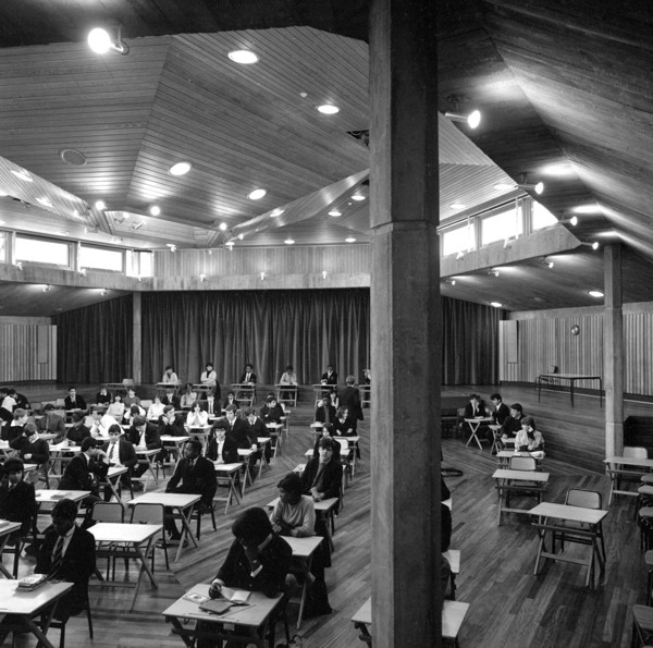 Picture of Acland Burghley School, Tufnell Park, Camden, London: the assembly hall during examinations