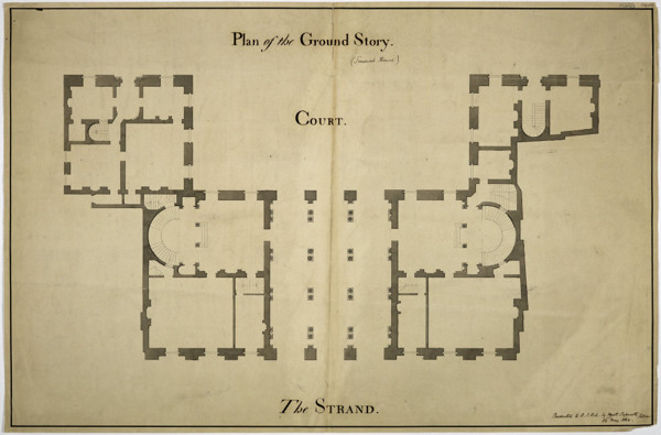 Picture of Design for Somerset House, Strand, London: ground plan of the Strand block