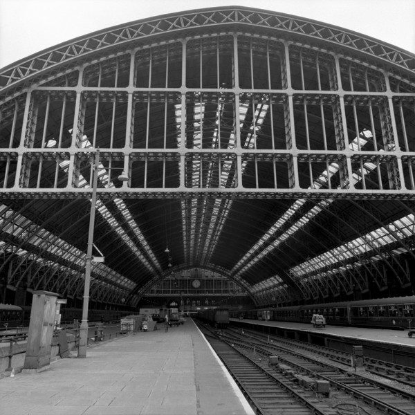 Picture of St Pancras Station, Euston Road, London: the train shed seen from the platform approach