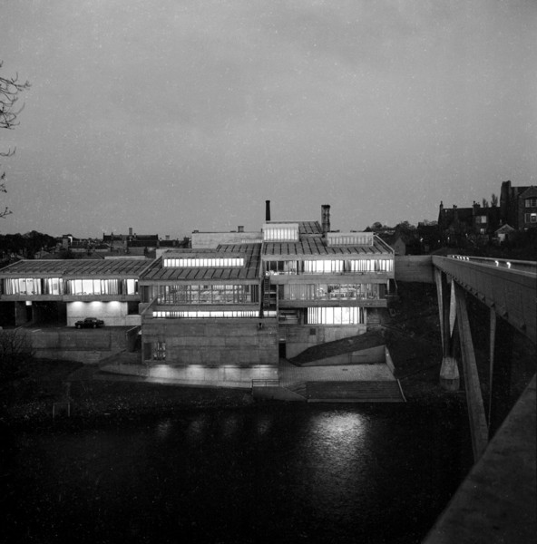 Picture of Dunelm House, Durham University, seen from across the River Wear at night