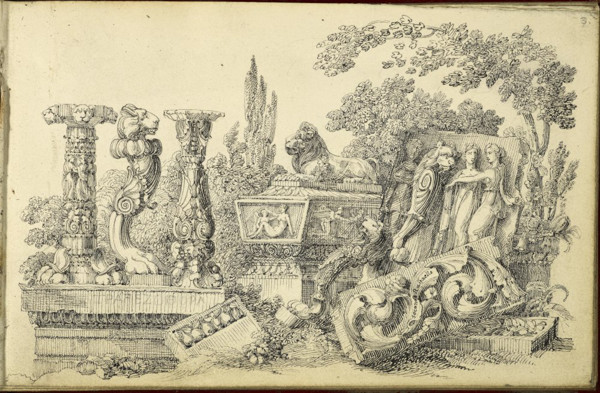 Picture of Composition of sculptured fragments, sarcophagi, balusters and foliage
