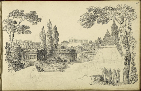 Picture of Architectural capriccio with tombs among the trees on either side of a roadway