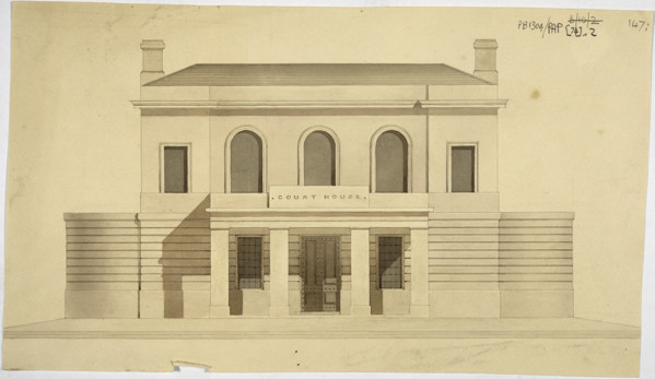 Picture of Designs for a courthouse, Huntly, Aberdeenshire: front elevation of Design B