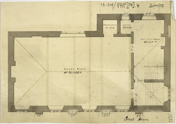 Picture of Designs for a courthouse, Huntly, Aberdeenshire: upper floor plan of Design C